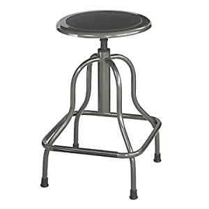 Industrial Style Stool in Bonded Leather Seat