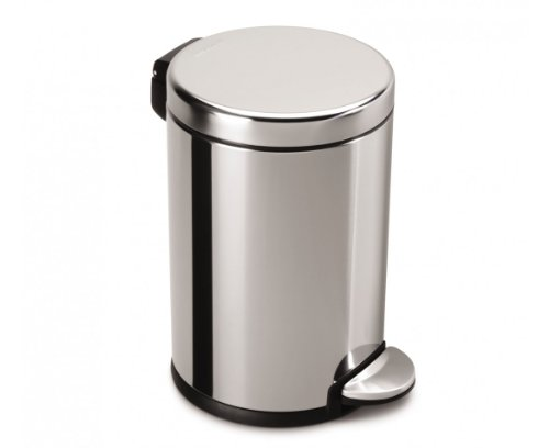 simplehuman Mini Round Step Trash Can, Polished Stainless Steel, 4.5 L / 1.2 Gal (Dog Trash Can compare prices)