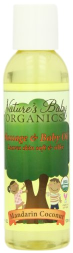 Nature's Baby Organics Organic Baby Oil, Mandarin Coconut,  4-Ounce Bottles (Pack of 2)