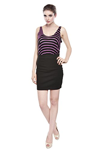 LaRok Vibrant Striped Fitted Dress,Black/Purple,Small