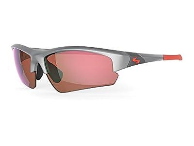 Sundog Clutch Sunglasses, Matte Silver Frame/Amber Light Blue Mirror Lens