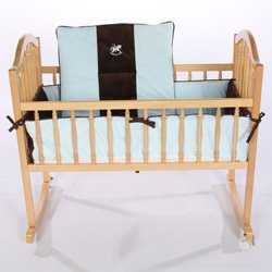 Choco Minky Rocking Horse Cradle Bedding - Color: Blue Size: 18 X 36 front-797512