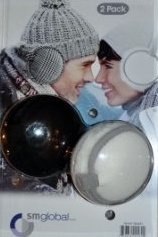 EAR MUFFS GLOBAL 4 WAY Ear Warmers 2 Pack, Black & White With Silver Trim, NEW!