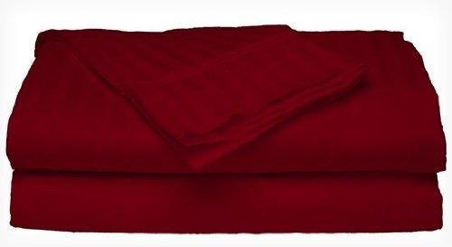 King Size Burgundy 300 Thread Count 100% Cotton Sateen Dobby Stripe Sheet Set front-414020