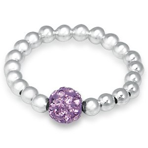 Light Amethyst Crystal & Sterling Silver Ball Bead Stretch Stack Ring Size 6