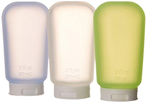 Humangear GoToob Travel Bottle, Clear/Blue/Green, Large (3 Oz), 3 pack