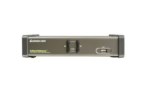 IOGear 2 Port Dual View KVM Switch with audio & USB Peripherial Sharing