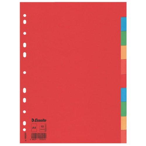 Esselte Pendaflex 10 Divisori in Cartoncino A4 Economy - Multicolore