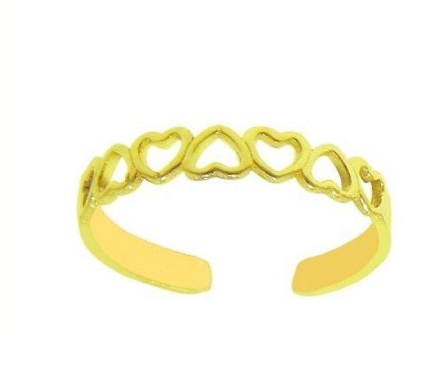 14k Solid Gold Heart Toe Ring Body Art Adjustable