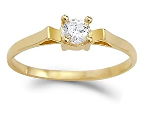 CZ Solitaire Engagement Ring 14k Yellow Gold Cubic Zirconia 1/4 Carat, Size 5