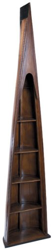 Man Of Eight Bookcase - Wooden Boat Replica - Hand-Built Solid Wood In Distressed French Finish - Authentic Models Mf007