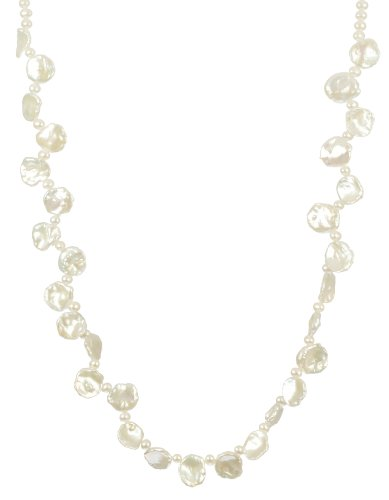 Alternating Keshi and White Potato Fresh Water Pearl with Sterling Silver Lobster Claw Clasp Necklace, 18
