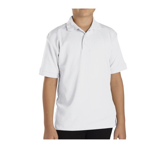 Dickies Boys Youth Short Sleeve Interlock Polo Shirt, White, Small