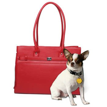 Monaco Tote Pet Carrier Fashion Pet Carrier Tote Bag Color-Red Tote Size: 16