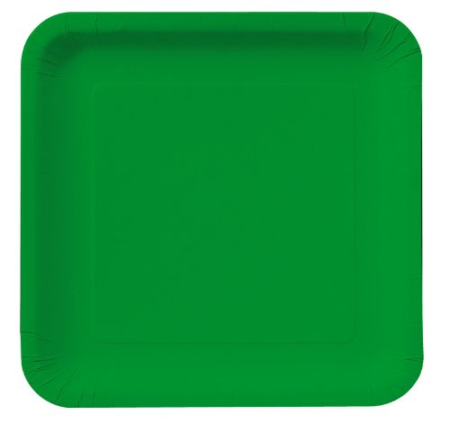 Emerald Green Square Dinner Plates Party Accessory