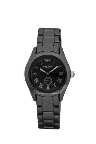 Emporio Armani Ladies AR1402 Black Ceremica Watch Round Case with Black Dial