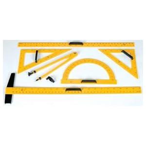 Chalkboard Accessories; Complete Set; T-square, ruler, compass, 60deg