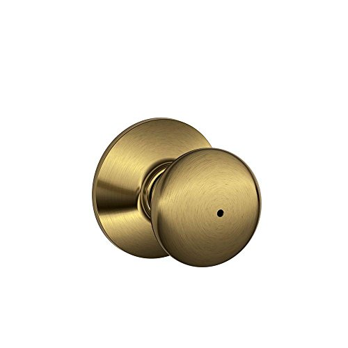 Schlage F40PLY 609 16-080 10-027 Plymouth Bed and Bath Knob, Antique Brass (Schlage Door Knobs Bed And Bath compare prices)