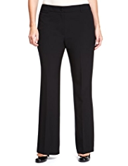 Plus 1 Button Flat Front Bootleg Trousers