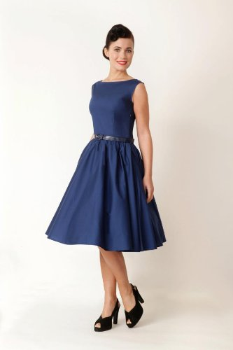 Lindy Bop Classy Vintage Audrey Hepburn Style 1950's Rockabilly Swing Evening Dress (S, Midnight Blue)