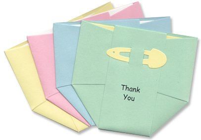 Baby Thank-You Cards - Pastel Diapers - Mix Of Pink Blue Yellow Green