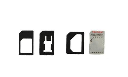 Ideal 4 in 1 Nano Sim Karten Adapter im Set für Apple Iphone 4G 5G 5c 5S NEU!