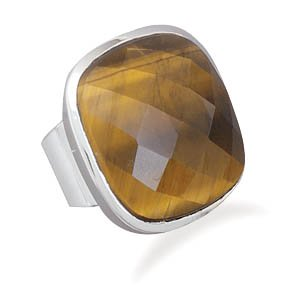 Sterling Silver Square Tiger's Eye Ring / Size 10