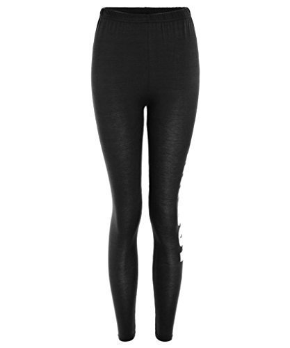 ClothesFactor21  Damen Leggings Jersey Work Out Trainings Hose  Schwarz, S/M (EU 3638) Picture