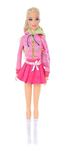 Banana Kong Lovely Doll Girls' Casual Coat Pink Pleated Skirt Set - 1
