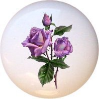 Purple Roses Rose Flowers Floral Drawer Pull Knob