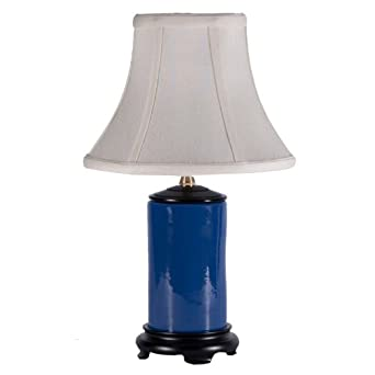 Small Navy Blue Porcelain Accent Table Lamp Amazon Com