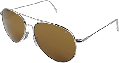 AO Flight Gear General Sunglasses, Wire Spatula, Silver Frame, Brown Glass Lens, Polarized, 58mm,