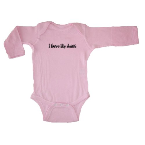 So Relative! Unisex Baby I Love My Aunt (Black Vintage Distressed) Long Sleeve Bodysuit (Pink, 6 Months) front-29356