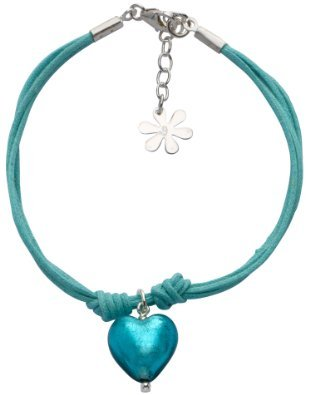 Valentina Teal Cotton Multistrand Bracelet with Genuine Murano Heart of 18.5 - 22 cm Christmas Blue Ladies [parallel import goods]