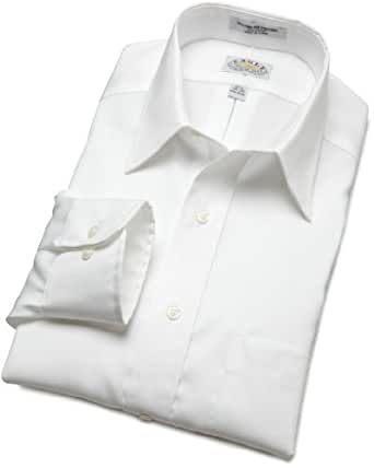 EAGLE Men's 100% Cotton Pinpoint Pointed Collar Non Iron Long Sleeve Dress Shirt,White,15 32/33