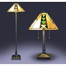 tiffany style mission lamp set household lamp sets. Black Bedroom Furniture Sets. Home Design Ideas