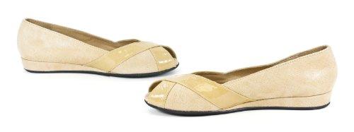 French Sole NY Indy Beige Cartizze Naplak Wedge Flat Shoe