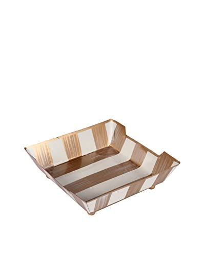 Jayes Brushed Stripe Cocktail Napkin Tray, Cream/Gold