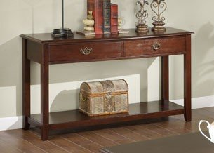 Console Sofa Table with Drawers in Brown Cherry Finish