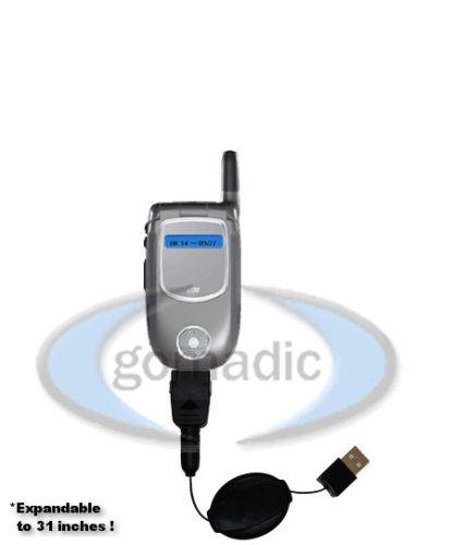 Motorola V731 Retractable Power Hot Sync and Charge USB Data Cable w/ Tip Exchange &#8211; Gomadic Brand