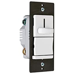 Legrand TradeMaster 600W Decorator Single Pole Slide Dimmer Preset in White