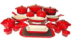 Le Chef 32 Piece Enameled Cast Iron Red Cookware Set. Super Sale. front-600397