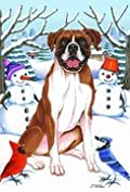 Boxer by Tomoyo Pitcher, Winter Themed Dog Breed Outdoor Flag 28 x 40
