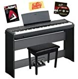 Yamaha P-105 Digital Piano Bundle with Gearlux Furniture-Style Bench, Yamaha L85 Furniture-Style Stand, Yamaha LP5A 3-Pedal System, Yamaha AC Adapter, Hal Leonard Instructional Book, Austin Bazaar Instructional DVD, and Austin Bazaar Polishing Cloth - Black