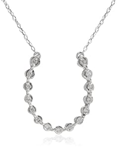 10k White Gold Horseshoe Diamond Pendant Necklace (1/10 cttw, I-J Color, I2-3 Clarity), 18""