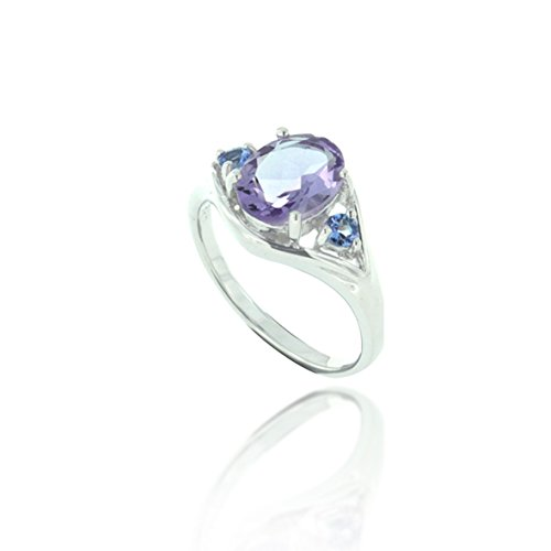 Rhodium Plated 925 Sterling Silver Purple Amethyst and Tanzanite Gemstone Ring, Size 6 (Tanzanite Ring Size 6 compare prices)