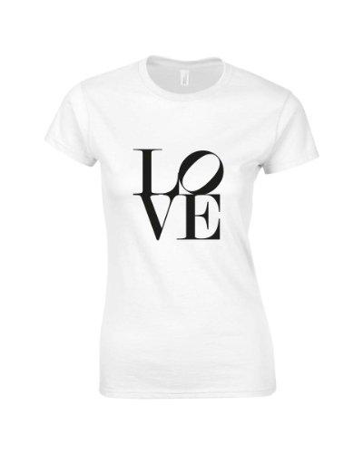 """Slogan-Maglietta da donna con scritta """"Love"""" bianco Small"""