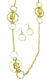 Just Give Me Jewels Hammered Goldtone Rings & Flower Necklace and Earring Set