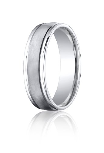 Cobalt Chrome, 6mm Comfort-Fit Satin-Finished Round Edge Design Ring (sz 7.5)