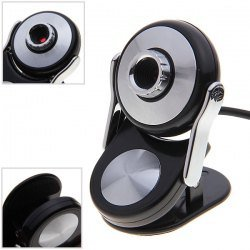 Sunglasses Shaped Digital PC Camera Webcam with Bottom Clip Stand (Black with Silvery)